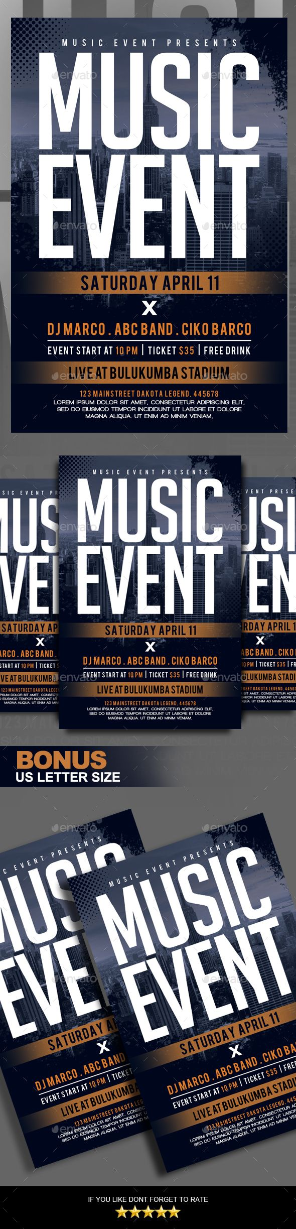 """Music Event Flyer This flyer template is great for promote your events eg: Music Event, Music Festival, and Music Concert, etc Package :      2 PSD File     Read Me File  Features :      Photoshop File Full Layered     Size 4×6 + bleed area (0.25"""")     Size 8.5×11 + bleed     Organized layer and grouped"""