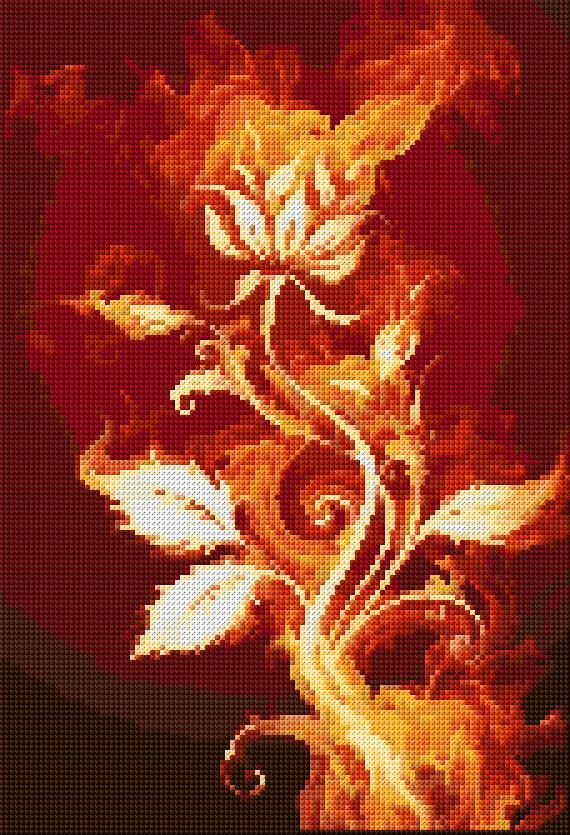 Cross Stitch | Fire Flower xstitch Chart | Design
