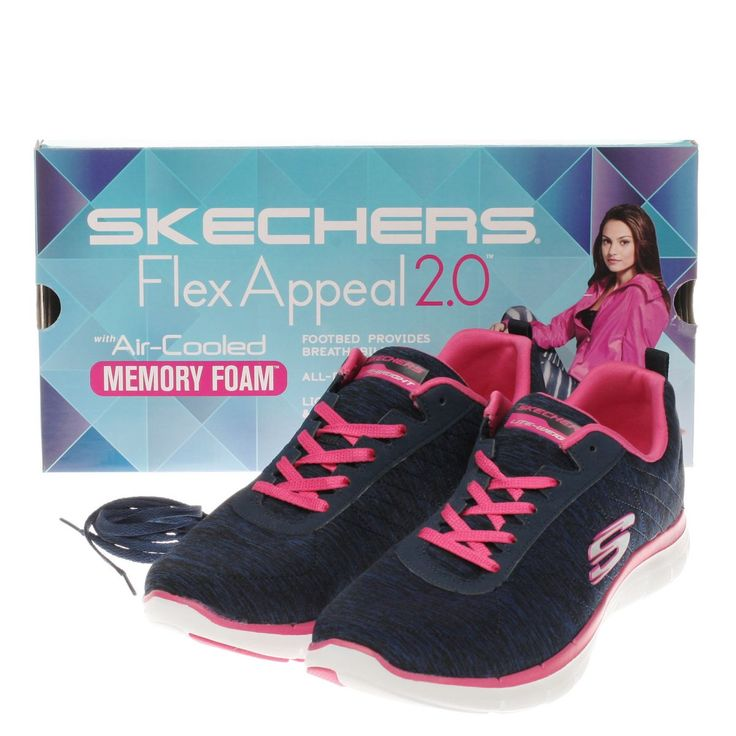 womens skechers navy & white flex appeal 2-0 trainers
