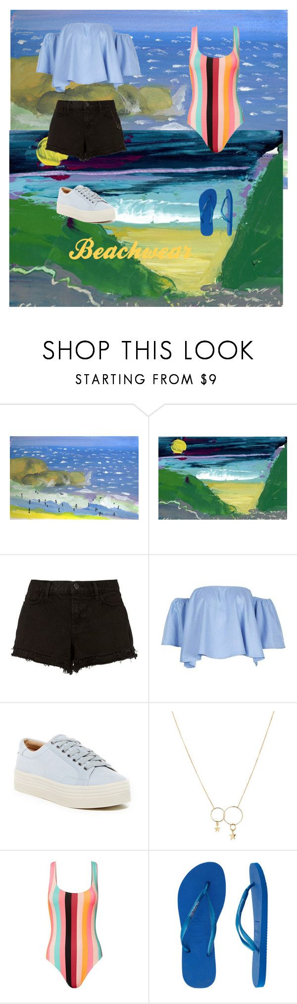 """""""Beach wear"""" by anniedonlon ❤ liked on Polyvore featuring J Brand, Marc Fisher LTD, Zimmermann, Solid & Striped and Havaianas"""