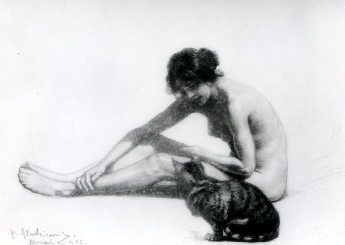 """ Woman with a Cat"" (1905) by Piotr Stachiewicz (Polish,1858-1938), pancil, 21 x 15, Raczynski Foundation at the National Museum in Poznan"