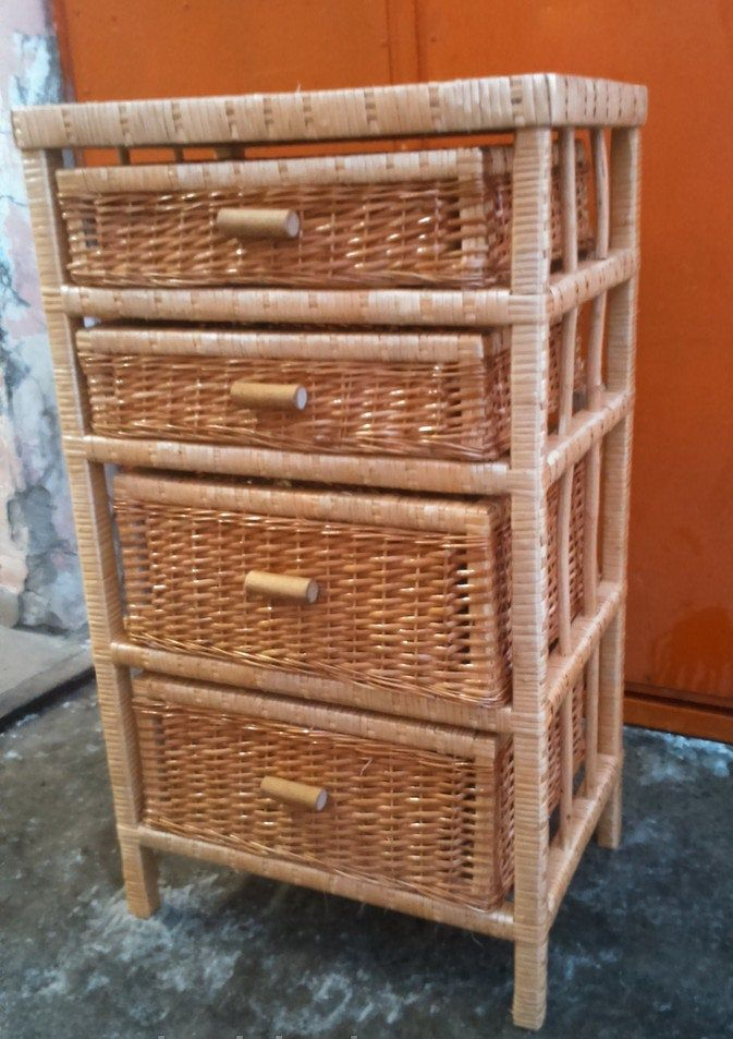 44 Tall Natural Handmade Rattan Wicker Laundry Chest W 2 Large 2 Midium Drawers Etagere Stand Cabinet Shelf Bookcase Shelvi In 2020 Wicker Rattan Handmade Natural