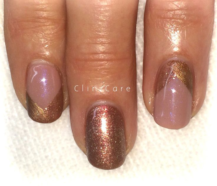 CND SHELLAC Satin pyjamas and Sugared spice with gold copper accents gel nails @ CliniCare