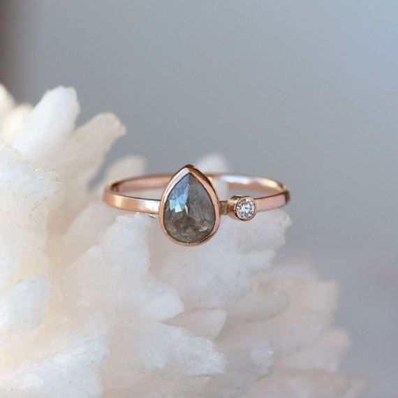 Rose Cut Pear Diamond Ring Two Diamond Engagement Band Pear
