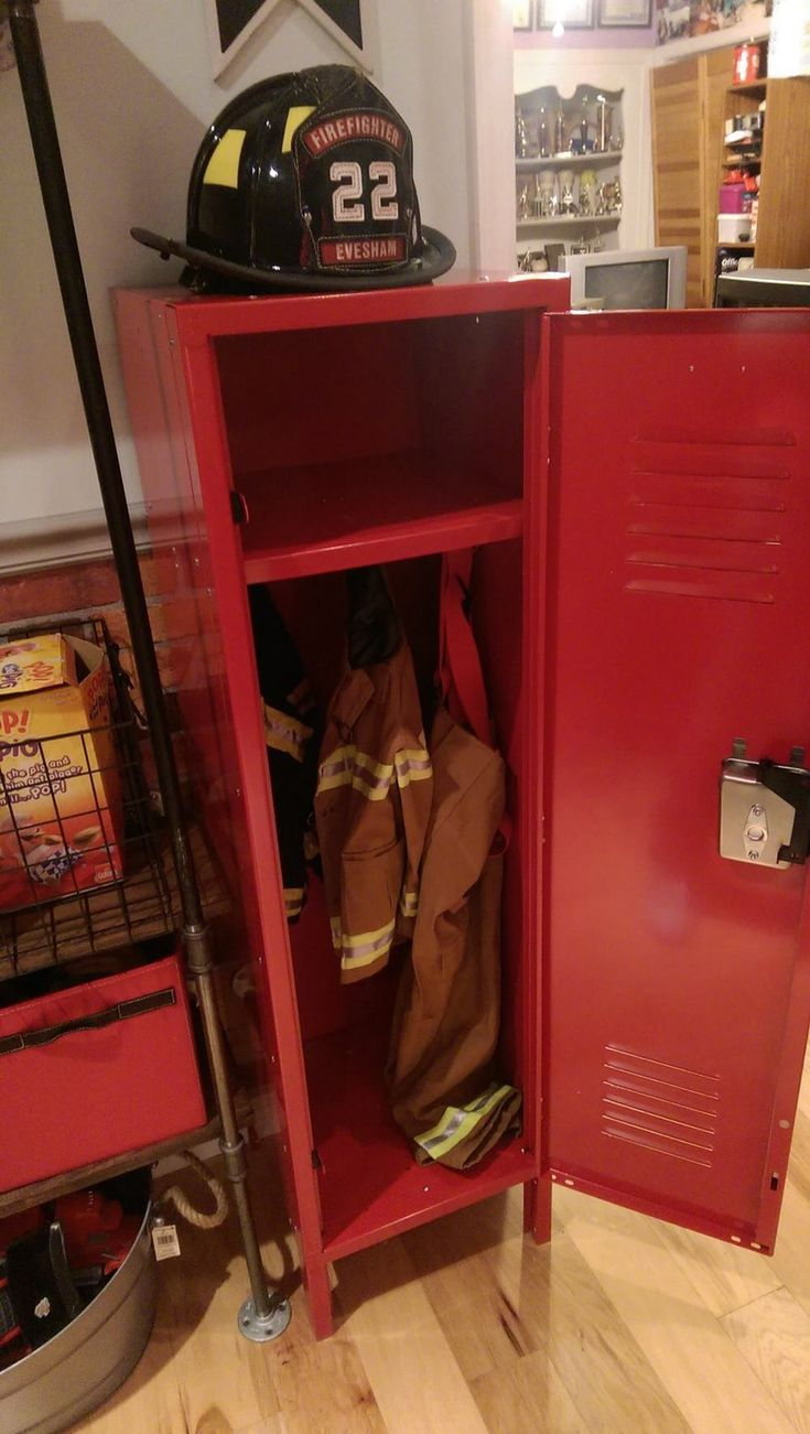 Kidu0027s Locker Appropriately Holds The Turnout Gear For Any Little Fire  Fighter.