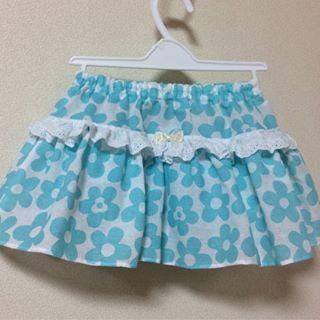 92d948b084908 スカート付きパンツ③  100均手ぬぐいリメイク 涼しげなブルーの花柄 ...