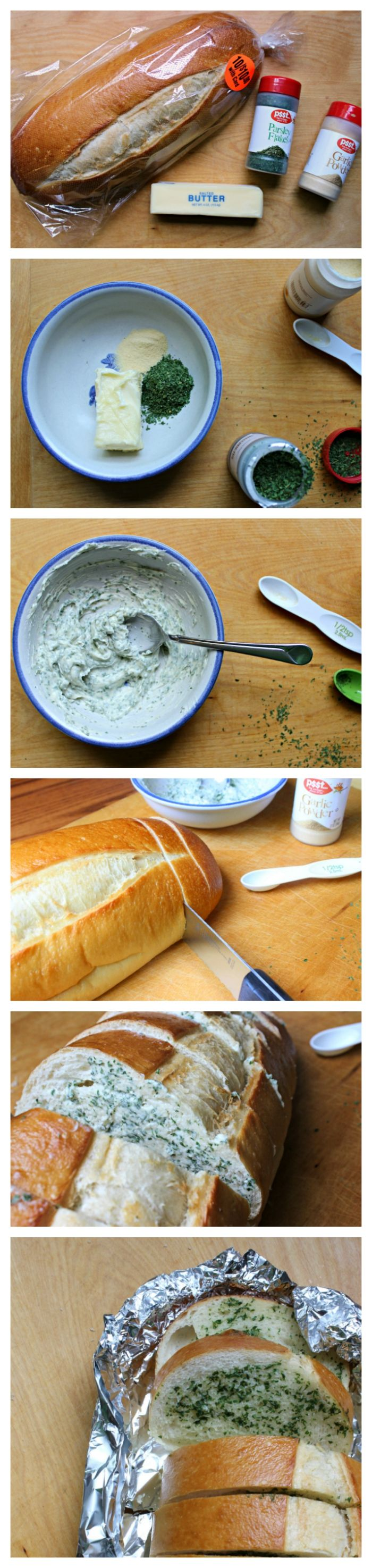 This simple garlic bread is so easy to make!  All you need is a few ingredients.