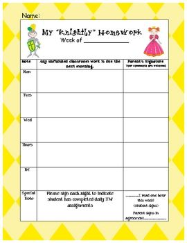 Castle Themed Log for students or teachers to write down homework assignments. My classroom is castle themed, so it goes well with that theme.