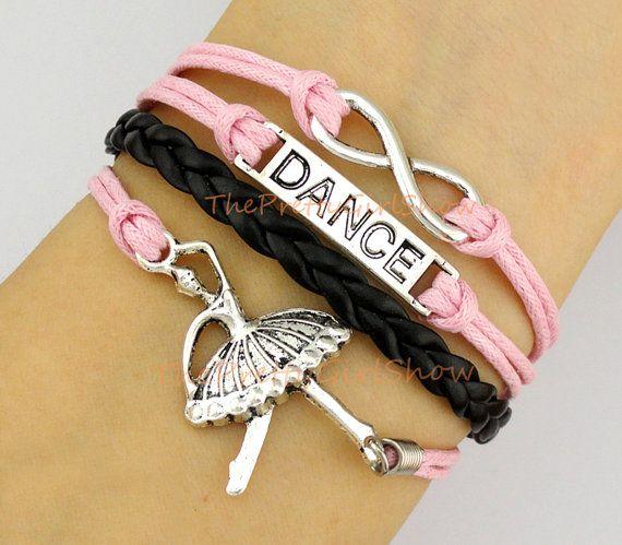 Ballet Girl Dancer, Ballet, Dance, Infinity Wish, Love, Charm Bracelet in Silver, Pink, Black, Customize, Friendship, Sister's Gift
