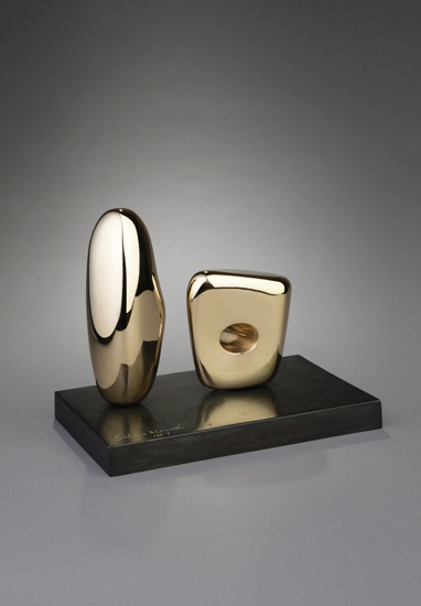 ** Barbara Hepworth ** Two Figures, 1967. Polished bronze