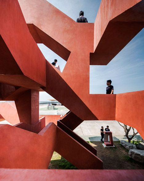 Labyrinthine staircase added to a seaside park in Thailand.