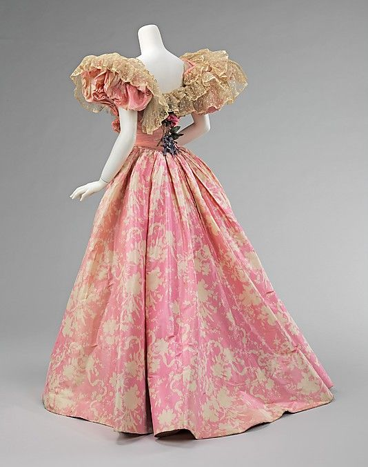 ca. 1895. More pink.  The pattern on the skirt is not that pretty but the bodice is awesome!