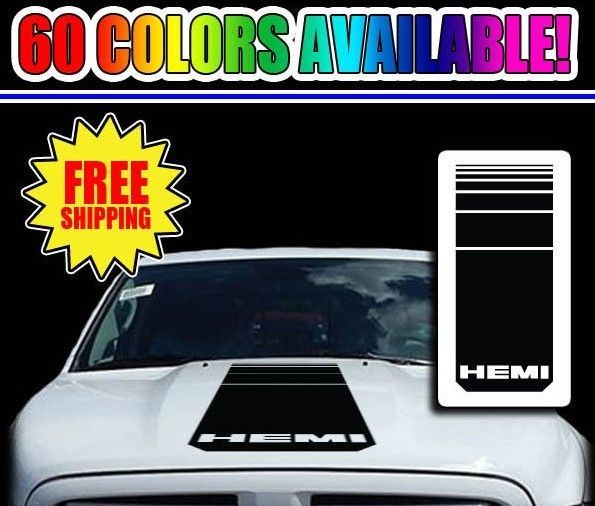2000-2017 Dodge HEMI Pickup Truck BODY & HOOD Decal Kit 3 Piece Set Choose Color