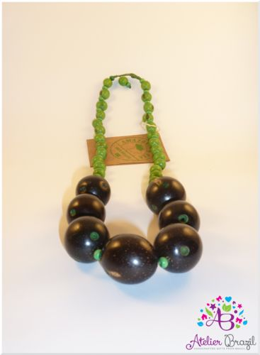 Tucuman Necklace (Green/Black)  Tucuma and Acai - Green and Black - Customized with Waxed Threads.    Basic and Beautiful - From the Amazon to you.    Tucuma has edible fruit which may be used for production of biodiesel.