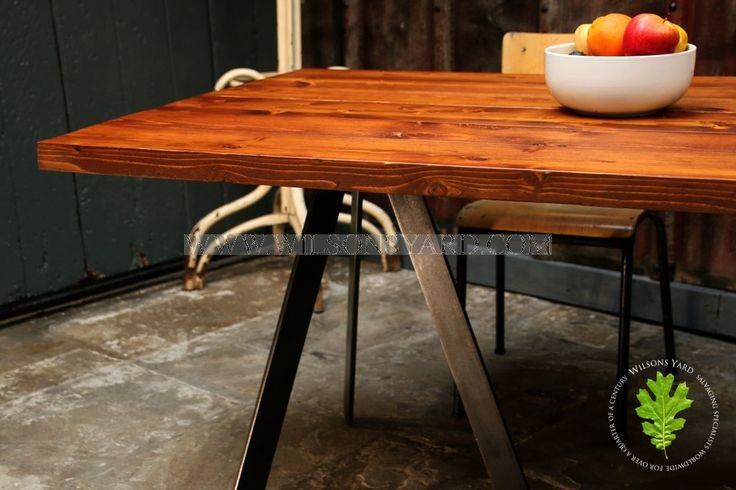 Industrial Style Table with Reclaimed Plank Top | Wilsonsyard.com