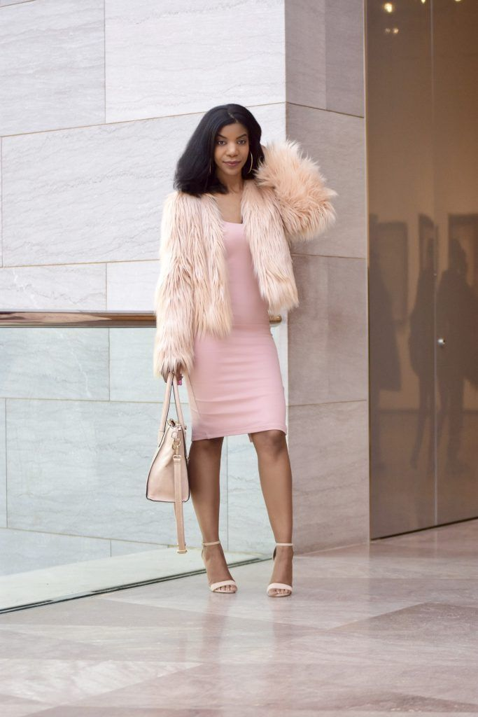 c39d6ff804 SheIn Pink Faux Fur Coat, Forever21 Pink Midi Dress, Amiclubewear Nude Rose  Embroidered Heels, Nude Satchel. Find this Pin and more on The Style Perk  ...