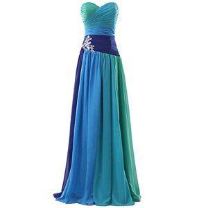 FashionファッションPlazaChiffonOne-shoulderBridesmaidEveningPromPartyDressD0192(US4,Blueブルー青Green)レディース\ドレス\ウェディングドレス