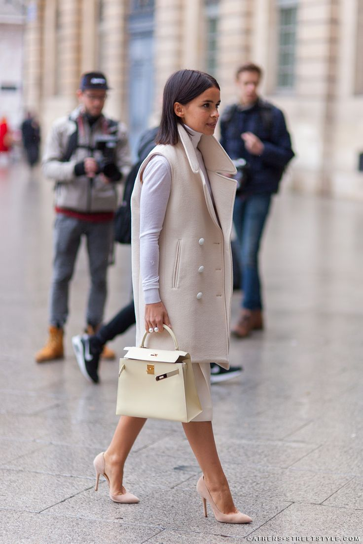 sleeveless wool vest | nude outfit | Hermes| womens fashion | Miroslava Duma | Paris Fashion Week Fall 2014 |