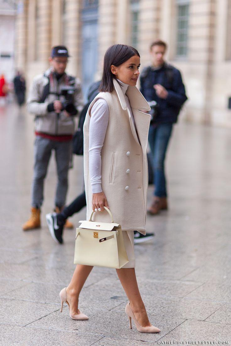sleeveless wool vest | nude outfit | Hermes| womens fashion | Miroslava Duma | Paris Fashion Week Fall 2014 |