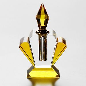Art Deco Glass purfume bottle. Yellow shell shape.