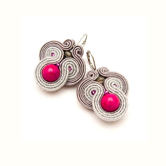 Statement earring, pink and silver, soutache jewelry, bold earrings, orecchini fatti a mano, beads embroidered, cute earrings, unique on Etsy, $40.00