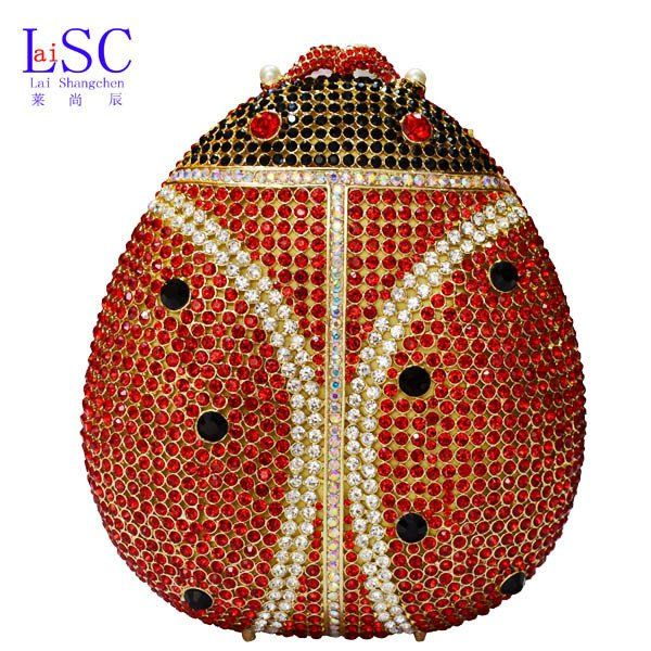 Women Clutch / Evening Bag Animal beatles red crystal evening bag clut – Premium Luxury Clutches & Purses