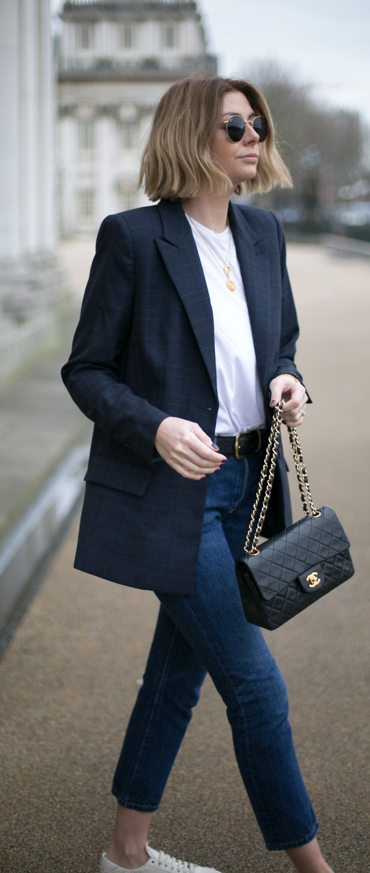 Emma Hill style, navy check blazer, white t shirt, dark wash Levi's 501 jeans, black Chanel vintage timeless bag, round ray ban sunglasses, spring outfit, casual fashion