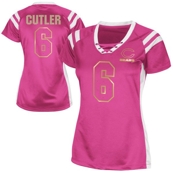 Jay Cutler Chicago Bears Women's Draft Him Shimmer V-Neck T-Shirt – Pink - $17.99