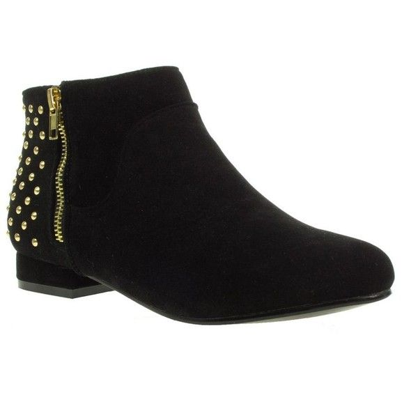 Black truffle studded trim ankle boots (905 UYU) ❤ liked on Polyvore featuring shoes, boots, ankle booties, sapatos, women's footwear, studded booties, short boots, black ankle booties, studded ankle booties and studded boots