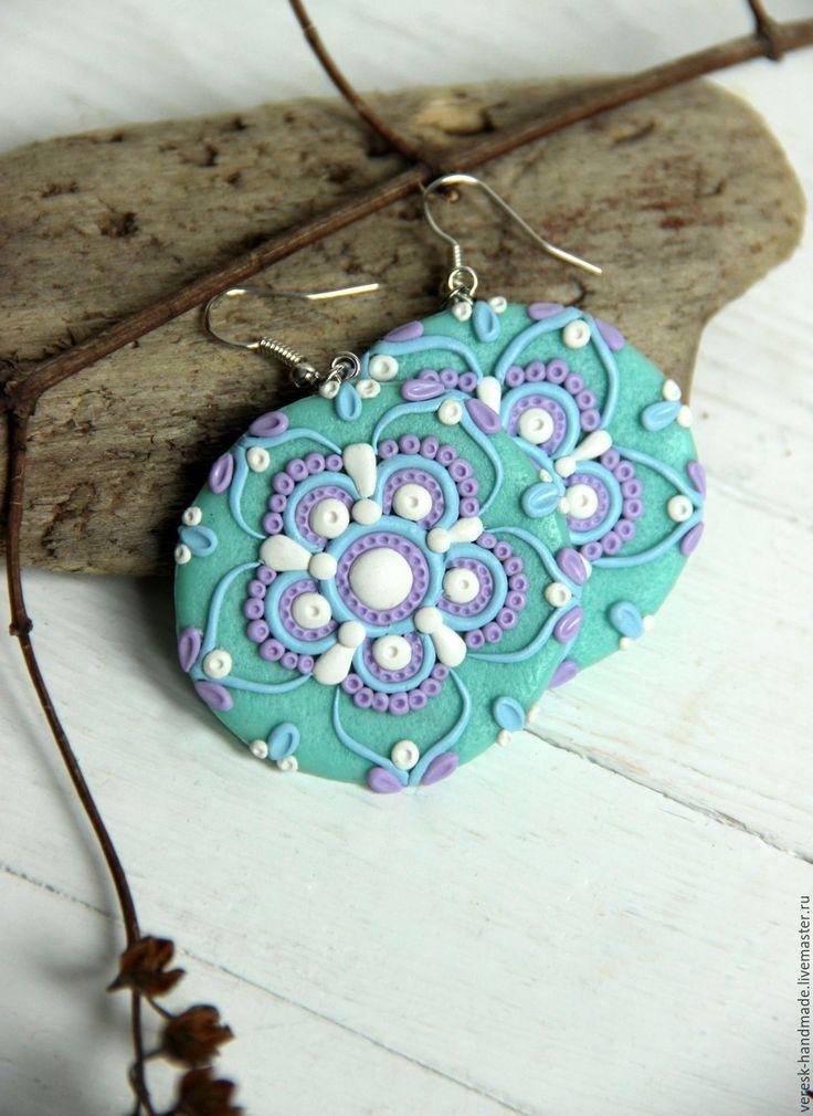 Polymer clay earrings | Купить Серьги из полимерной глины Восточный орнамент - серьги из полимерной, серьги из пластики, подарок, бирюзовый