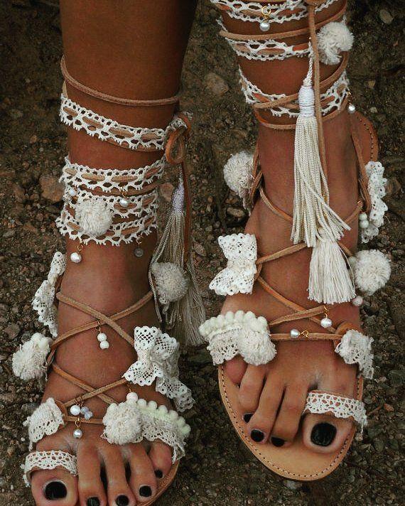 Wedding sandals gladiator leather sandals boho sandals bridal sandals lace up sandals crocheted sandals beach sandals PRINCESS