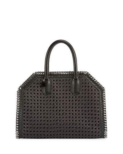 V3EBX Stella McCartney Falabella Medium Box Wicker Satchel Bag, Khaki