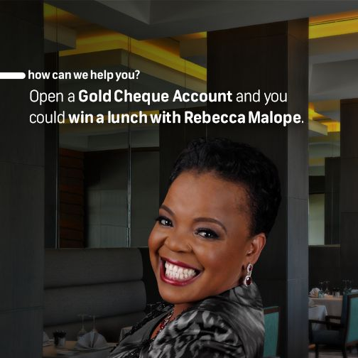 "Win an intimate luncheon experience with the queen of gospel. A once in a lifetime, money can't buy experience with a celebrated South African music icon, Rebecca Malope. You and 8 of your closest friends can enjoy an intimate afternoon in the company of Rebecca. SMS ""lunch"" to 31138 to switch. For more info, visit www.fnb.mobi/goldencircle"