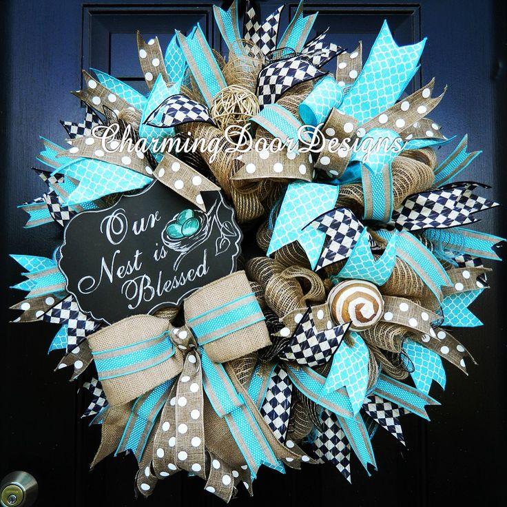 Our Nest Is Blessed Baby Boy Wreath By Charmingdoordesigns