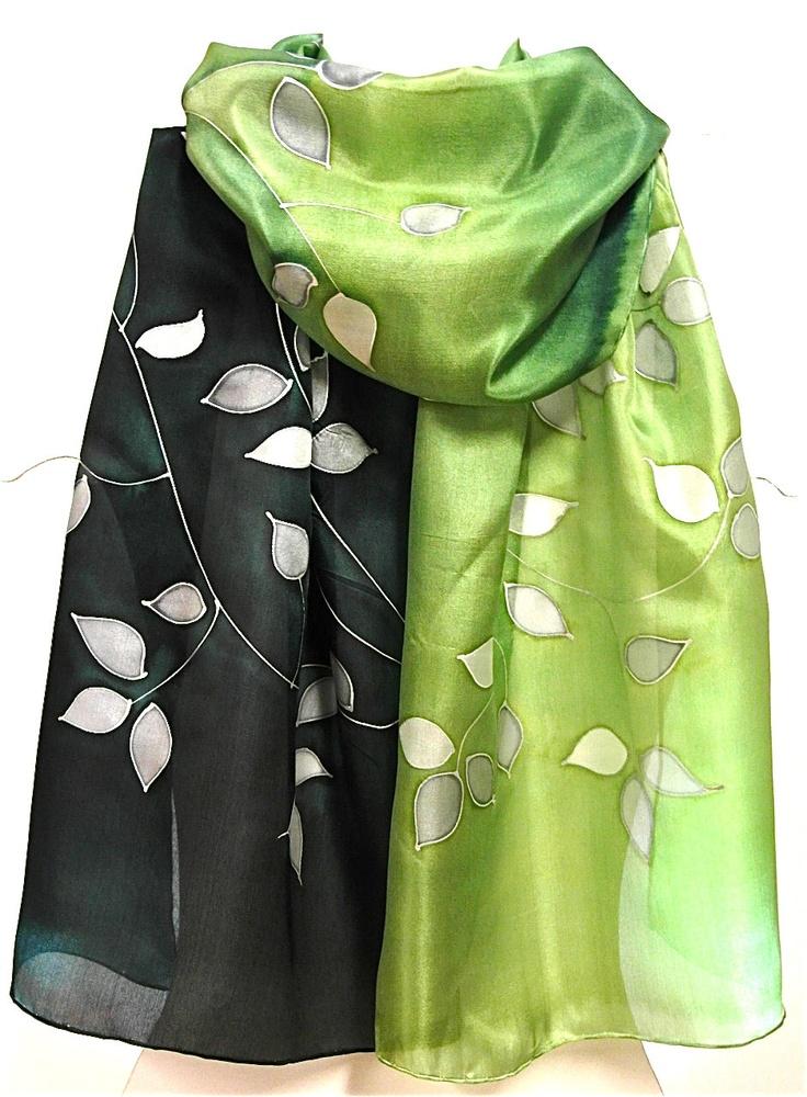Hand painted greensilver silk scarf shawl scarves by EwaGrol