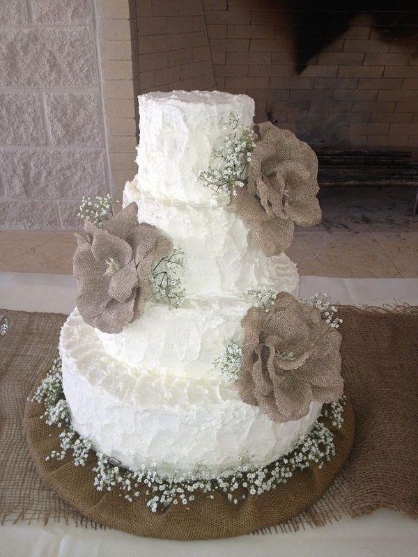 rustic country buttercream wedding cake with burlap flowers / http://www.deerpearlflowers.com/rustic-country-burlap-wedding-cakes/2/