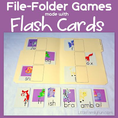 Make your own file folder games for preschoolers using FLASH CARDS! So easy and so many possibilities!