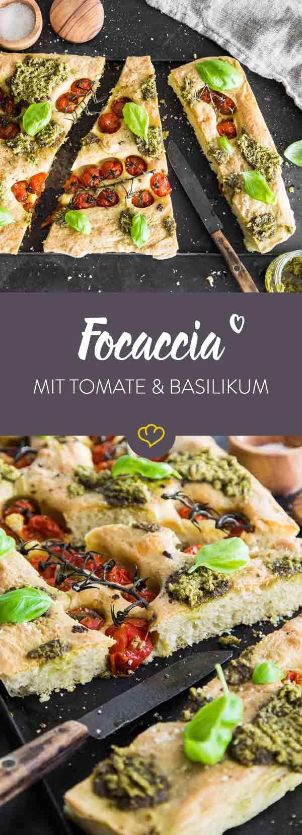 Ob als Snack, Beilage oder zum Sattessen: Diese Focaccia mit Kirschtomaten und Pesto wird bestimmt ein neuer Klassiker in deinem Rezeptheft werden.