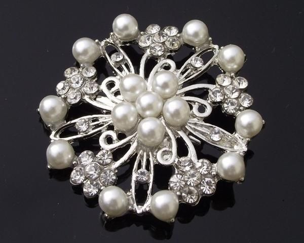 Wedding Brooches - Vintage Style White Pearl Brooch, Claudia