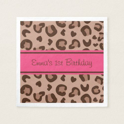 Pink Cheetah 1st Birthday Napkin