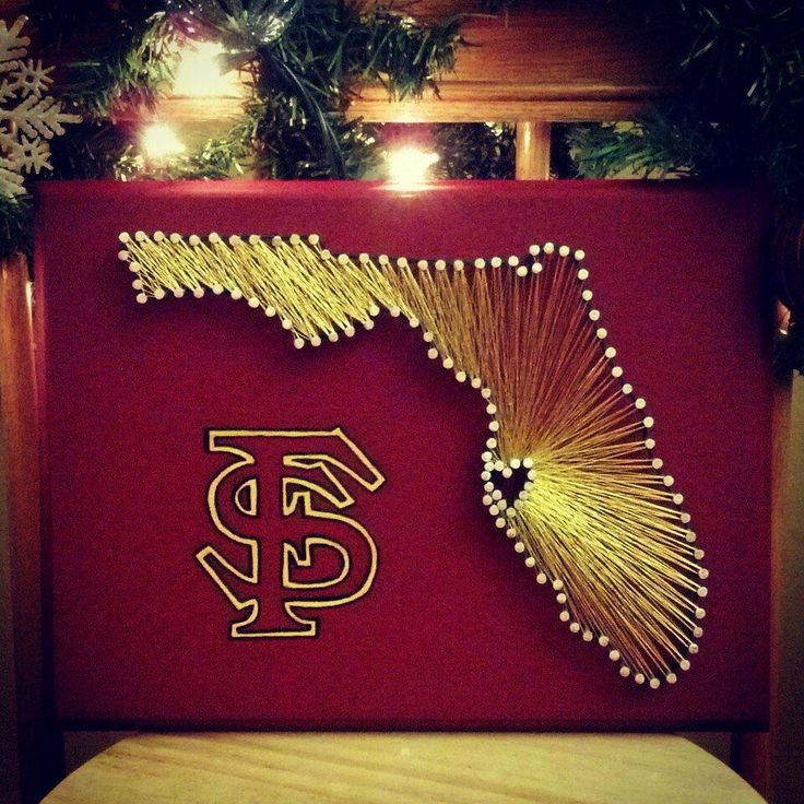 Florida State String Art! Check out my Etsy shop if you would also like to order your own Custom Made String Art!  Florida State University, Noles, Seminoles, State string art, string art