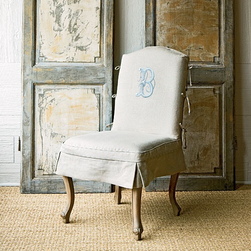 Hand Painted Version Of A Traditionally Embroidered Monogram Chair Slipcover Designed By Betty Burgess Dining Room SlipcoversDining