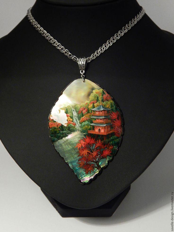Купить Кулон с росписью на перламутре Осенний водопад - рыжий, кулон, ручная роспись, миниатюрная живопись