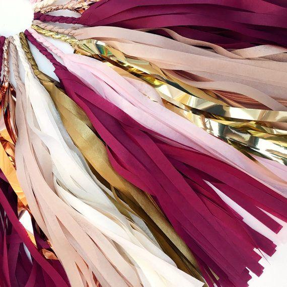 Borgoña Blush borla Garland - cobre, Borgoña, oro, Blush rosa bandera - boda decoración, suministros fiesta de compromiso, despedida de soltera