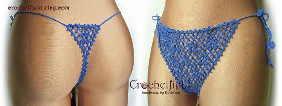 Sexy royal blue crochet thong with beads g-string by Crochetfield