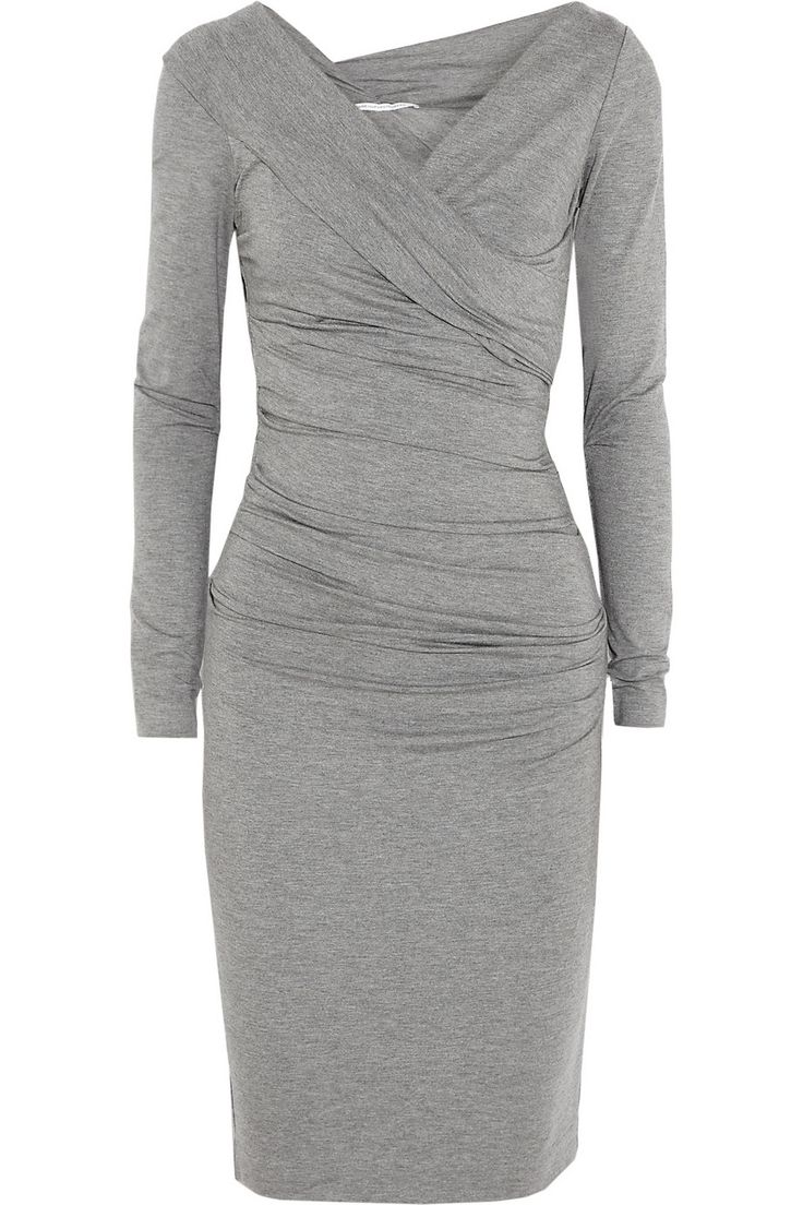 We'd wear this gray DVF wrap dress anywhere - it's the most flattering style around ---- I second that.