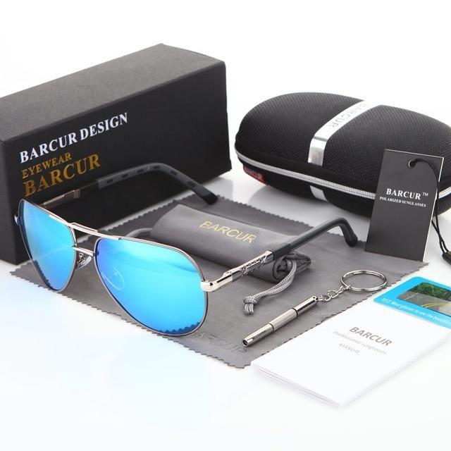 Mens Sunglasses Polarized Men Coating Mirror Glasses Male For Men Aluminum Magnesium Blue