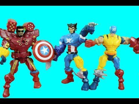 Marvel SuperHero Mashers Wolverine, Captain America, Ironman get Mashed-Up Just4fun290 - YouTube