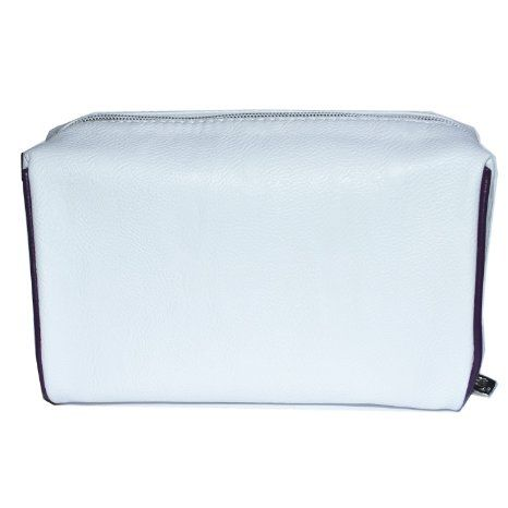 White Colour Cosmetic Bag with Black Strap Detail