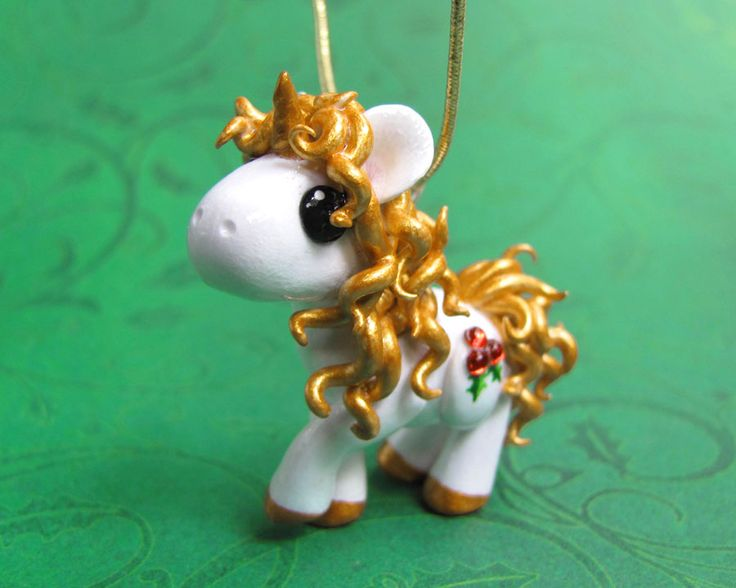 Gold Christmas Unicorn Onament by DragonsAndBeasties.deviantart.com